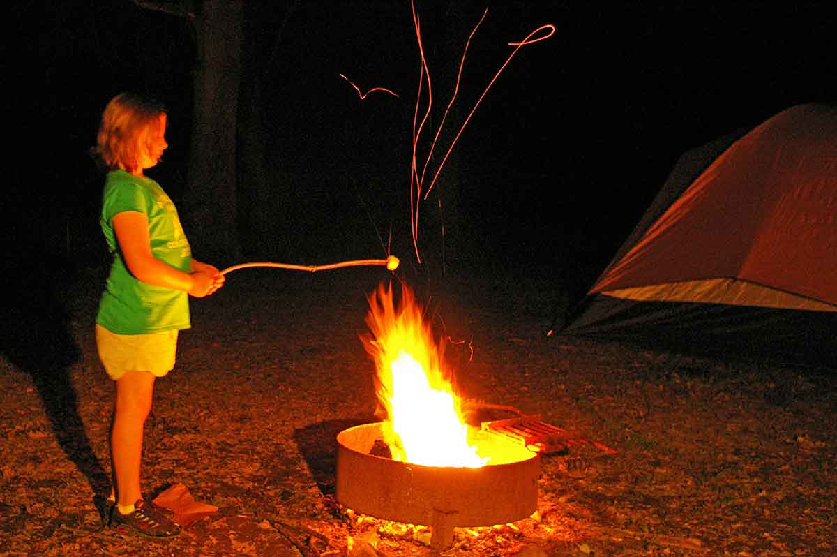 First-time campers enjoy campfires.
