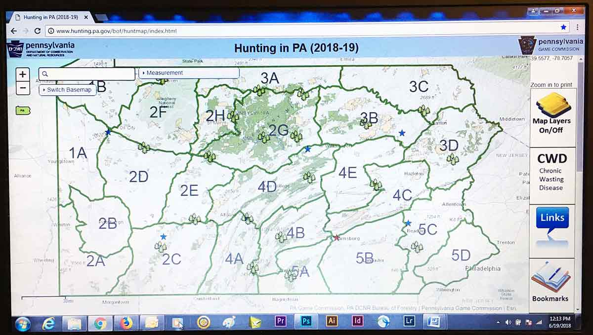 A Pennsylvania hunting map details 3.7 million acres of ... on pennsylvania hunting map, pennsylvania fishing map, pa state map, pennsylvania parks map, pennsylvania golf courses map, pennsylvania state abbreviation, pennsylvania hiking map, pennsylvania game commission map, pennsylvania ohio map,